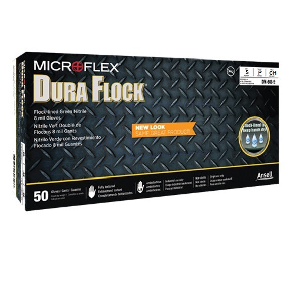 Microflex Dura-Flock 8.3 mil Nitrile Industrial Grade Gloves,Powder Free, Green, Small