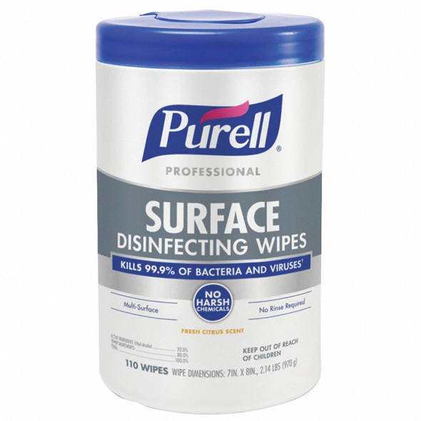 """PURELL Professional SURFACE Disinfecting Wipes,7"""" x 8"""" sheet size"""