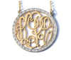 Solid Gold Round Zoe Monogram Necklace with 1 1/2ct  Diamonds