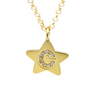 Mini Star Pendant Initial With Diamonds Necklace Solid 14k Gold