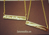 Gold Bar Necklace Custom Engraved With Heart