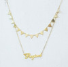 Custom Double Layer Name Necklace With Spike Chain