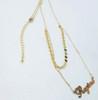 Custom Double Layer Name Necklace With Aquamarine Gemstone