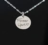 Deep Engraved Signature Handwritten Engraved Circle Necklace