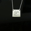 Deep Engraved Signature Handwritten Engraved Square Necklace