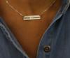 Block Font Deep Engraved Bar Necklace