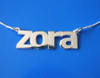 Zora Name Necklace, Personalized Name Necklace, Silver Name Necklace, All lowercases name necklace