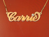 Carrie Name Necklace in Gold Plated with Swarovski Birthstone || BestNameNecklace