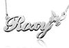 Roxy Style Silver Name Necklace with Butterfly and Swarovski Element