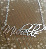 Free Hand Monogram Name Necklace with Rolo chain