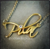 Free Hand Monogram Name Necklace Gold Plated with Swarovski