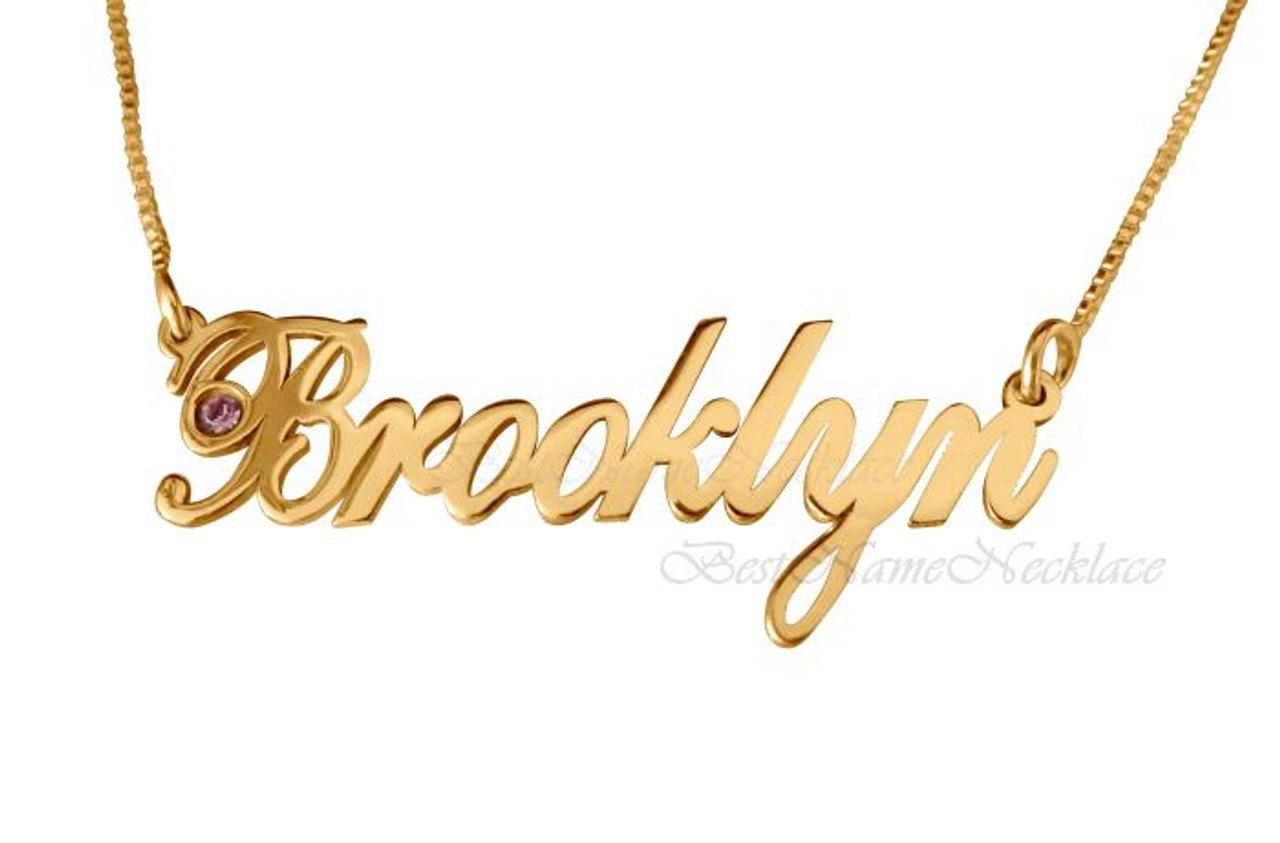 0b0cbaddd3f6c5 Brooklyn Style Gold Plated Name Necklace with Swarovski Element ||  BestNameNecklace