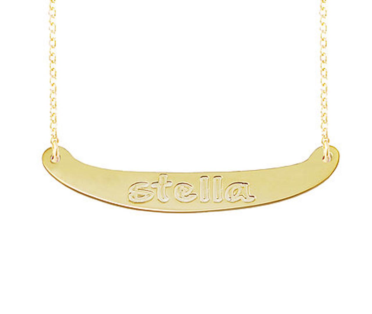 Engraved Nameplate Bar Necklace Amani Style