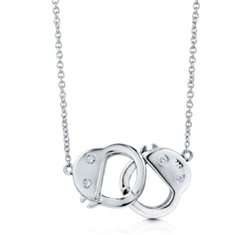 Handcuffs Sterling Silver Pendant Necklace