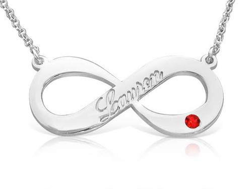 Engraved Infinity Name Necklace with Crystal Birthstone