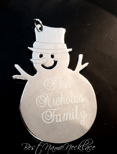 Personalized Snowman Ornament for Christmas Tree