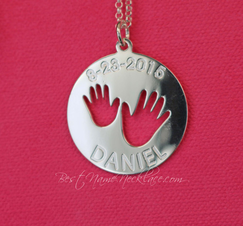 Personalized Kid's Hands Moms Engraved Necklace