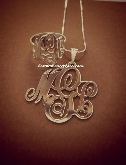 Script Monogram ring and necklace set