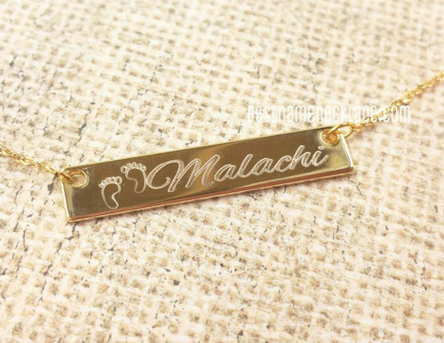 baby feet bar necklace, engraved bar necklace for moms
