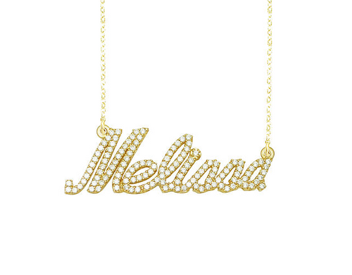 Gold and Diamonds Name Necklace