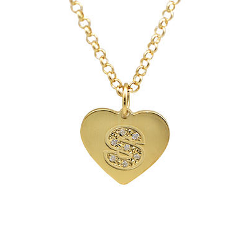 Mini Heart Pendant Initial With Diamonds Necklace Solid 14k Gold