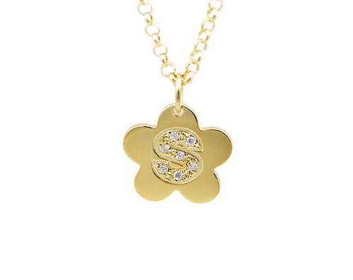 Mini Flower Pendant Initial With Diamonds Necklace Solid 14k Gold