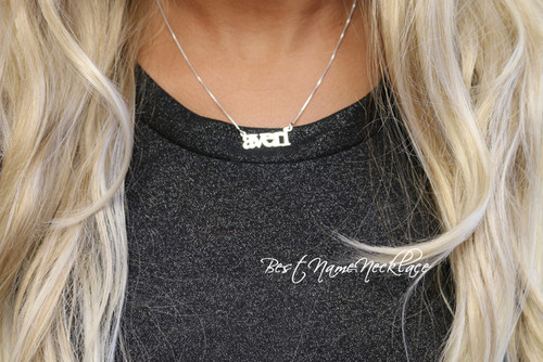 Personalized Mini Block Name Necklace