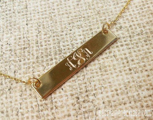 Monogram Bar Necklace Custom Engraved