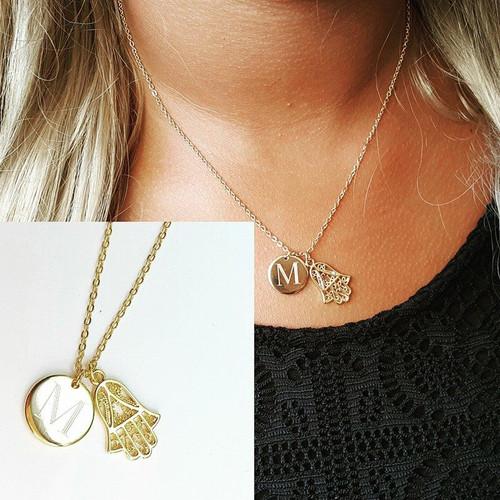 Mini Engraved Monogram Disc Necklace with Hamsa Hand of God