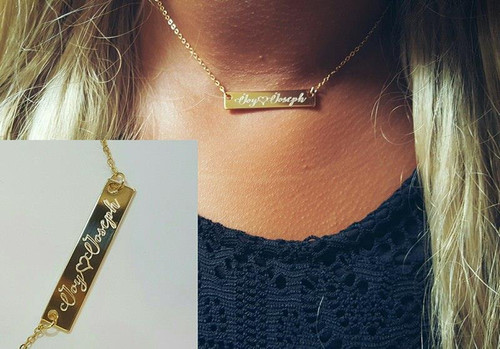 Gold Bar Necklace Engraved