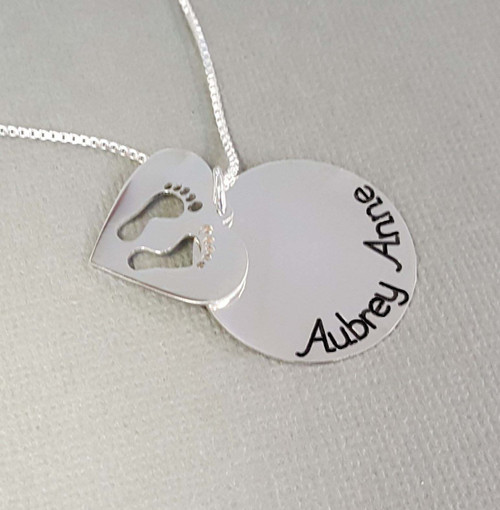 Personalized Baby Feet Heart and Circle Necklace