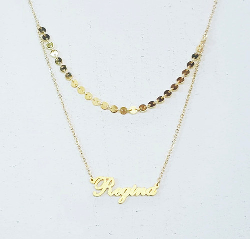 Custom Double Layer Name Necklace With Coin Chain