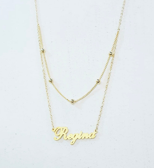 Custom Double Layer Name Necklace With Ball Chain