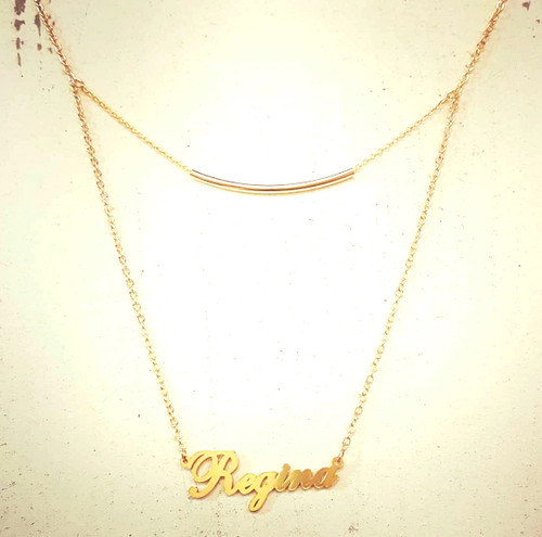 Custom Double Layer Name Necklace With Tube Bar Chain