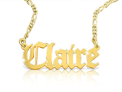 Solid Gold Old English Name Necklace With Figaro Chain