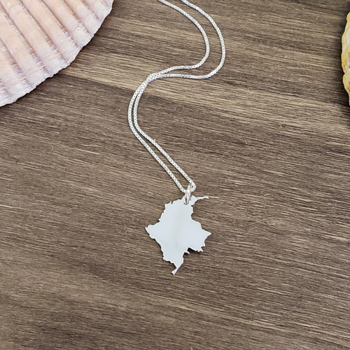 Solid State or Country Map Necklace