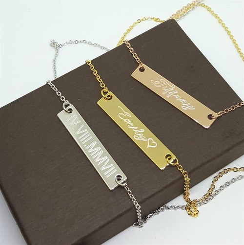 Gold plated bar necklace