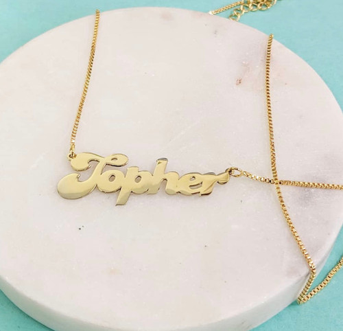 Retro 80's Font  Gold Plated Name Necklace