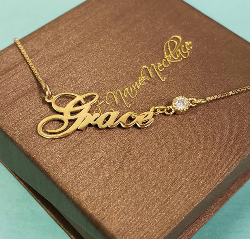 Cursive with Gem On Chain  Gold Plated Name Necklace