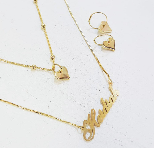 Layer Set of Personalized Necklace, Heart Necklace and Matching Earrings