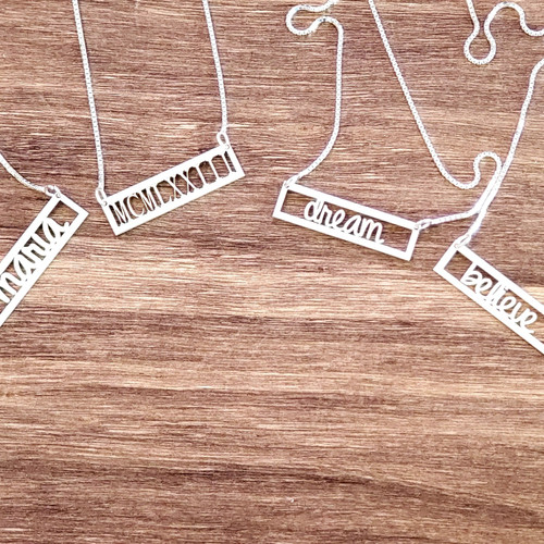 Personalized  Calligraphy Bar  Name Necklace