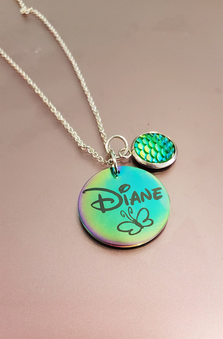 Engraved Rainbow Necklace