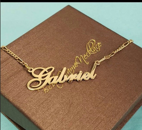 Solid 14k Gold Cursive  Name Necklace With Figaro Chain