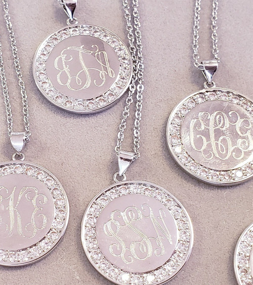 Engraved Paved Monogram Disc Necklace