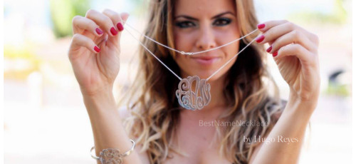 Monogram Name Necklace Interlocking Style