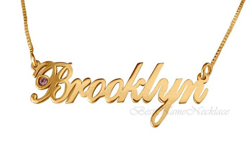 Brooklyn Style Gold Plated Name Necklace with Swarovski Element || BestNameNecklace