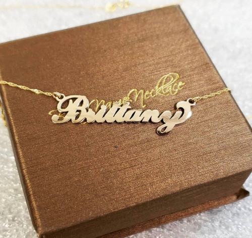 Carrie Name Necklace 14k Gold