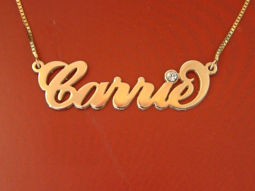 Carrie Name Necklace Solid 14k Gold with Swarovski