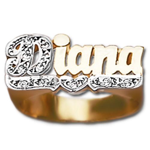 10 mm Diamond Name Ring Diana Style