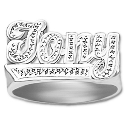 12 mm Diamond Name Ring Johny Style